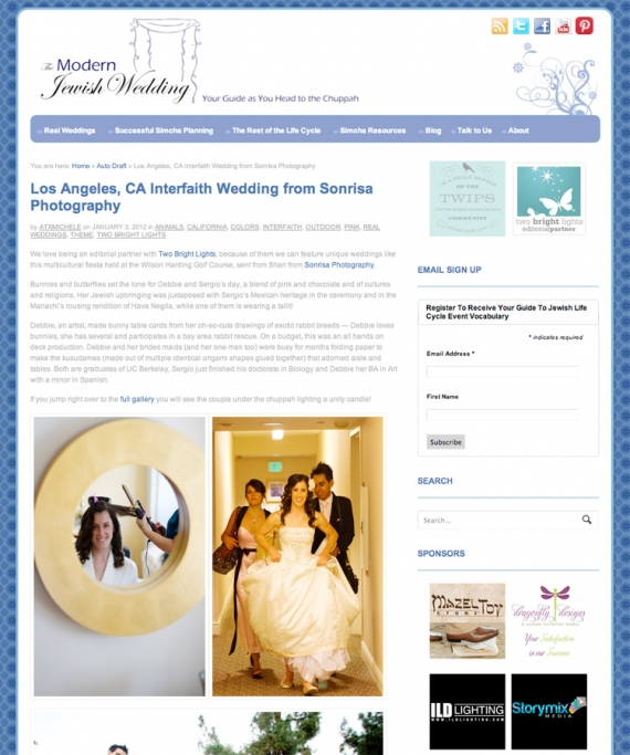 Sonrisa Wedding Photography featured in Modern Jewish Wedding